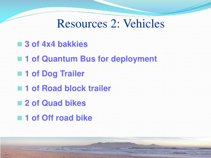Resources 2: Vehicles