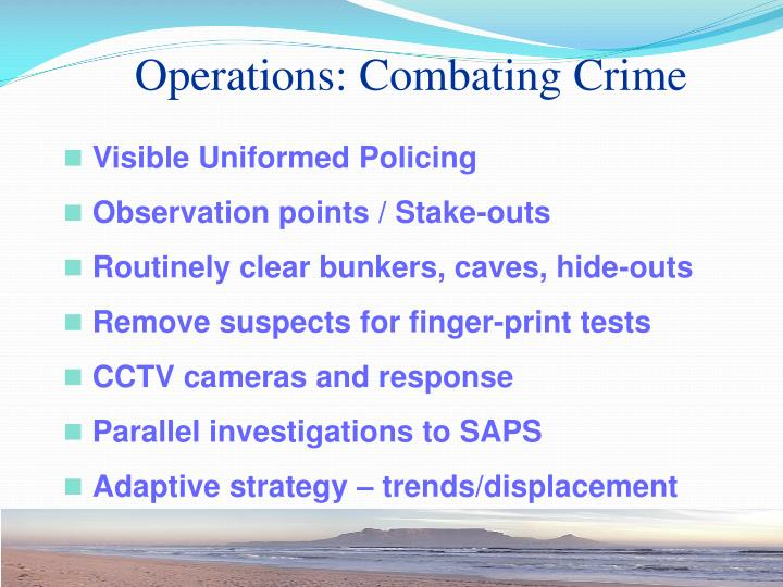 Operations: Combating Crime