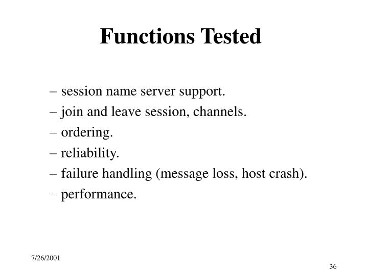 Functions Tested