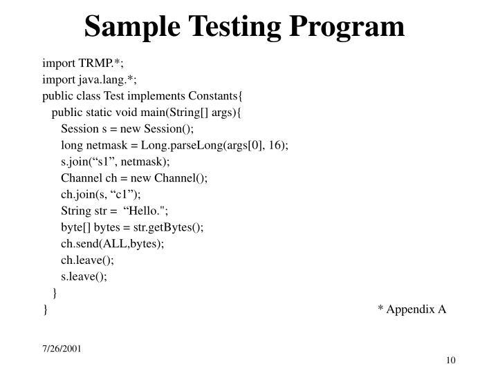 Sample Testing Program