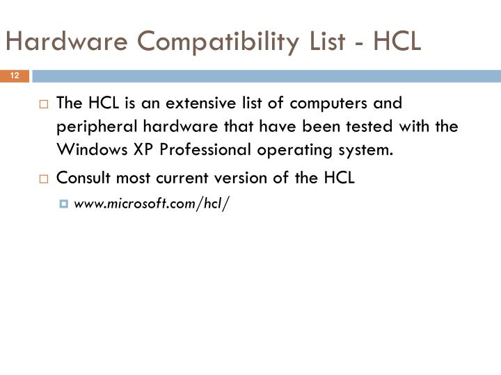 Hardware Compatibility List - HCL