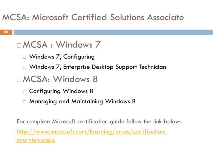 MCSA: Microsoft Certified Solutions Associate