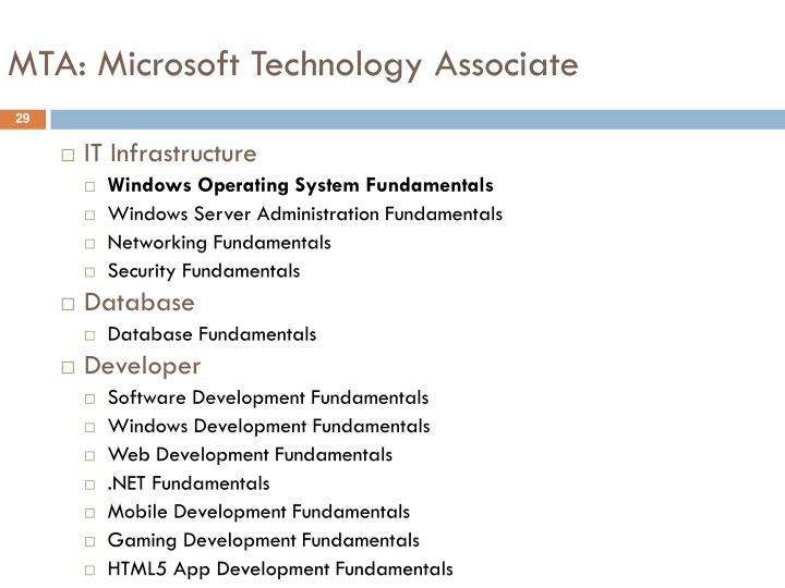 MTA: Microsoft Technology Associate