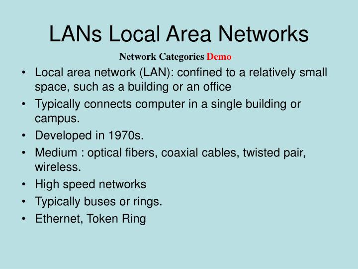 LANs Local Area Networks