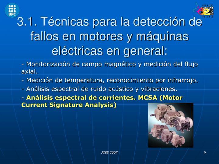 3.1. Técnicas para la detección de fallos en motores y máquinas eléctricas en general: