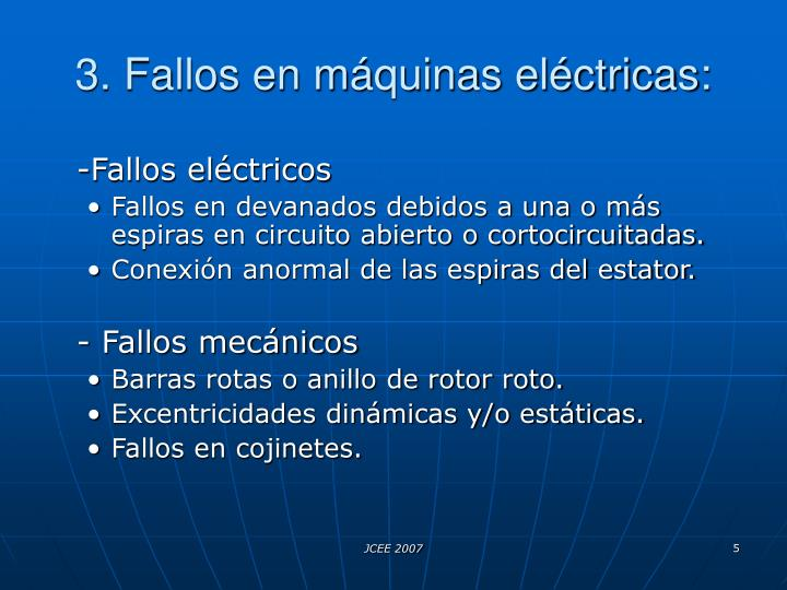 3. Fallos en máquinas eléctricas: