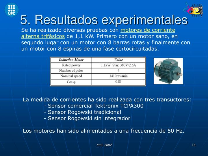 5. Resultados experimentales