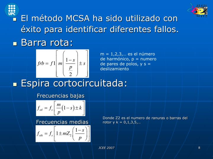 El método MCSA ha sido utilizado con éxito para identificar diferentes fallos.