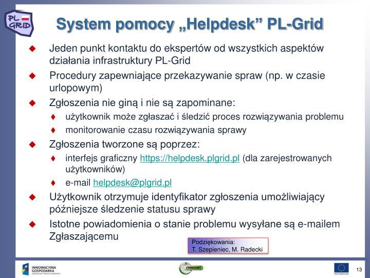 """System pomocy """"Helpdesk"""" PL-Grid"""