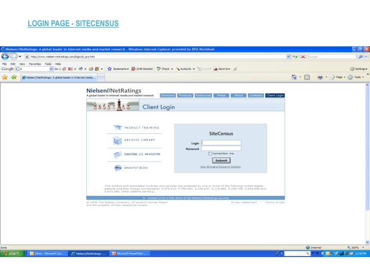LOGIN PAGE - SITECENSUS