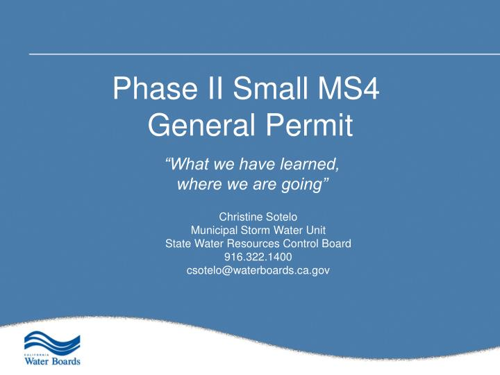 Phase II Small MS4