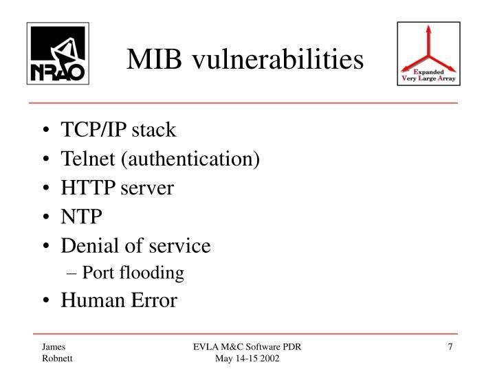 MIB vulnerabilities