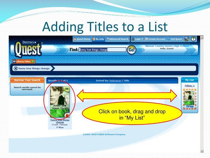 Adding Titles to a List