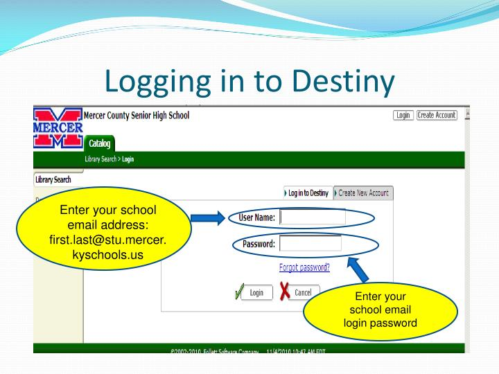 Logging in to Destiny