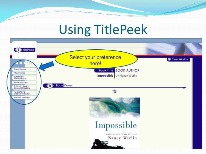 Using TitlePeek