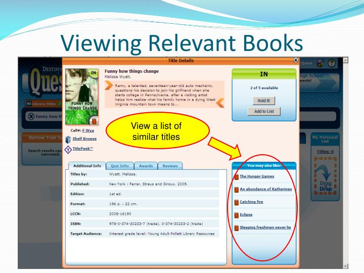 Viewing Relevant Books