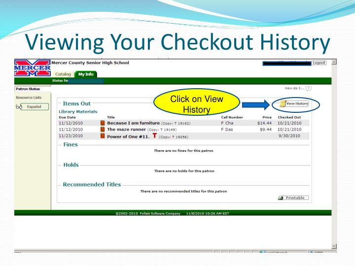 Viewing Your Checkout History