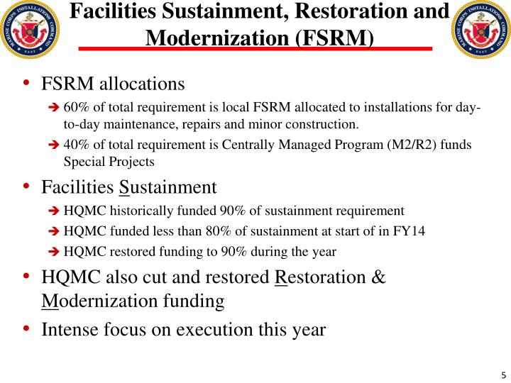 Facilities Sustainment, Restoration and Modernization (FSRM)