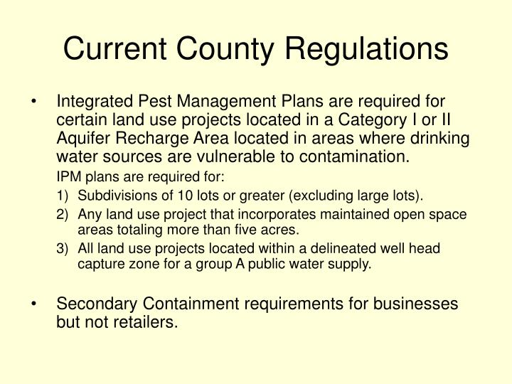 Current County Regulations