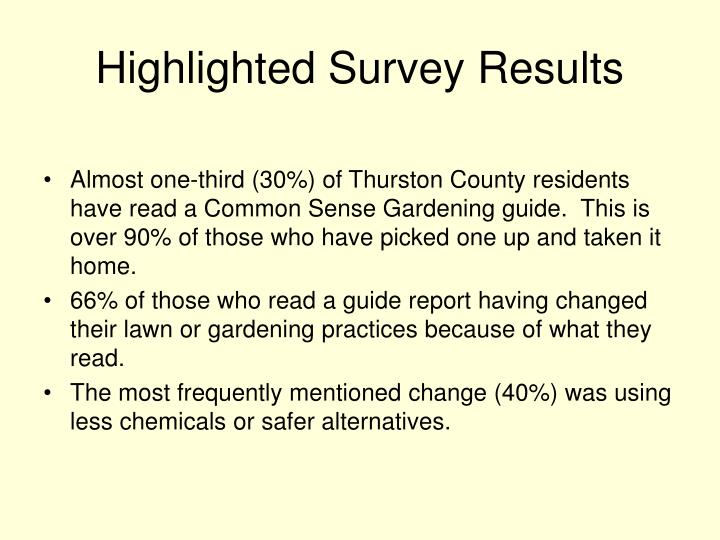 Highlighted Survey Results