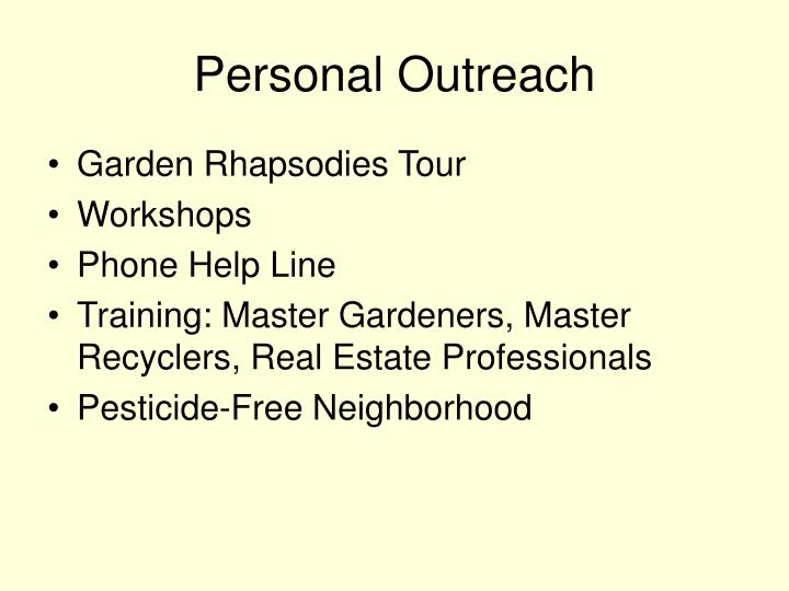 Personal Outreach