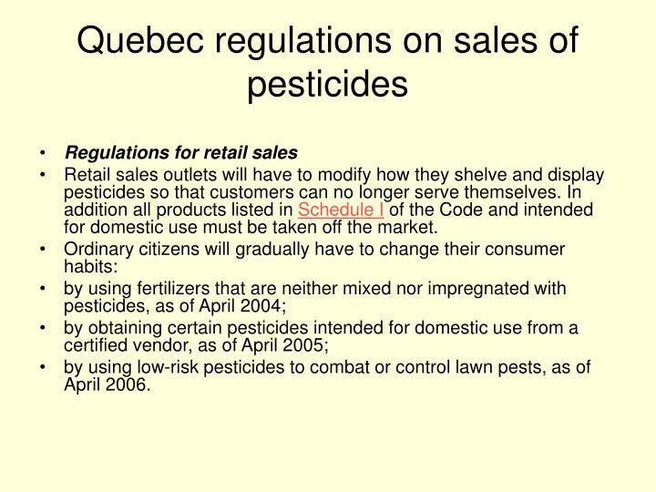 Quebec regulations on sales of pesticides