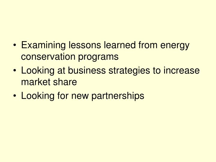 Examining lessons learned from energy conservation programs