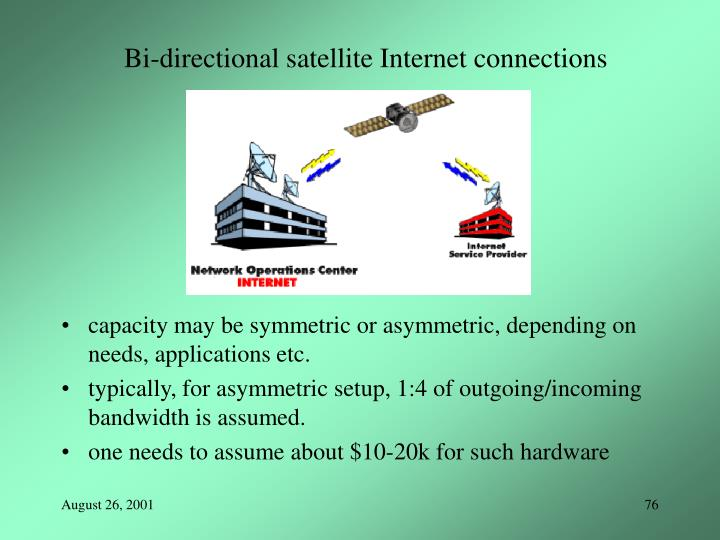 Bi-directional satellite Internet connections