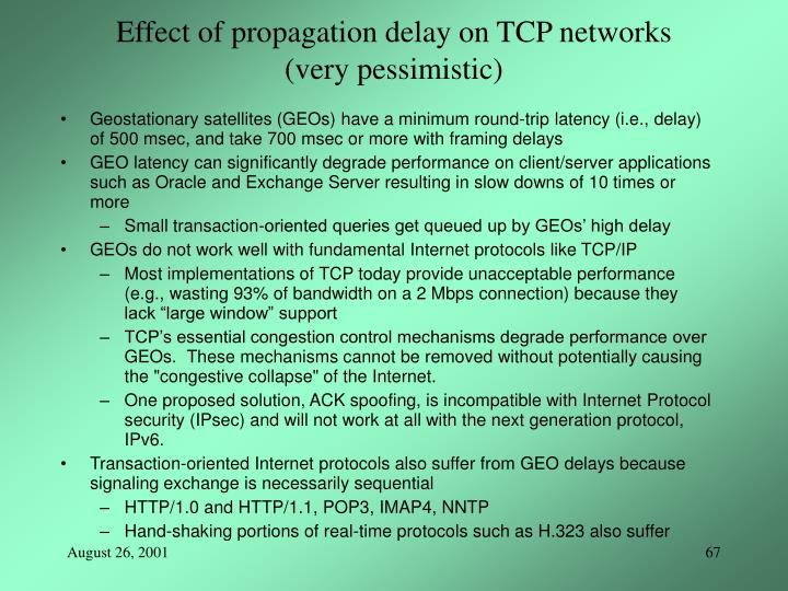 Effect of propagation delay on TCP networks