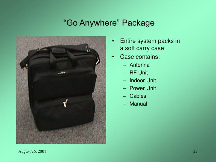 """Go Anywhere"" Package"