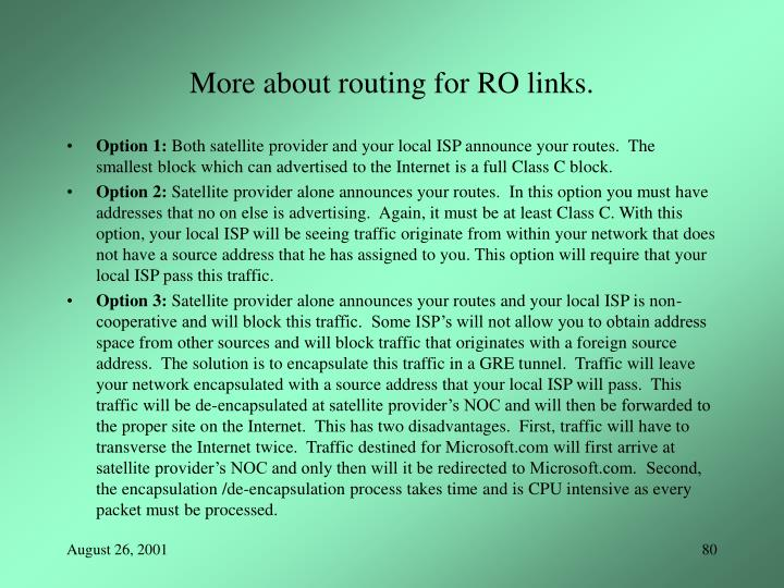 More about routing for RO links.