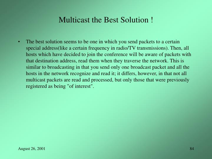 Multicast the Best Solution !