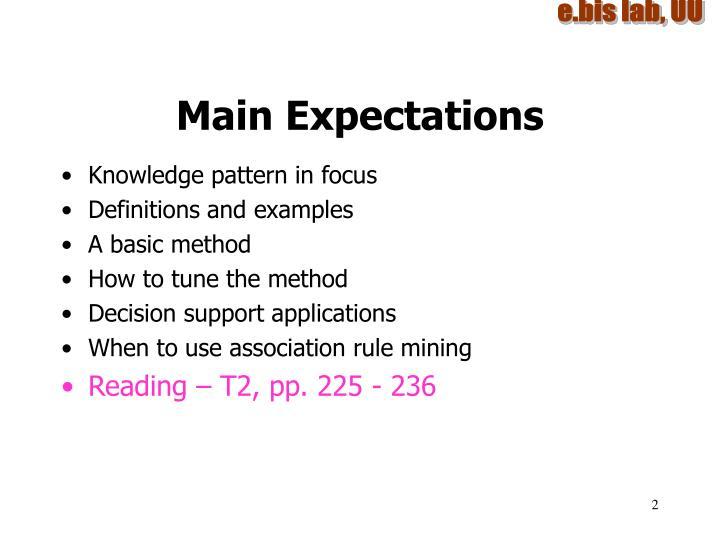 Main Expectations