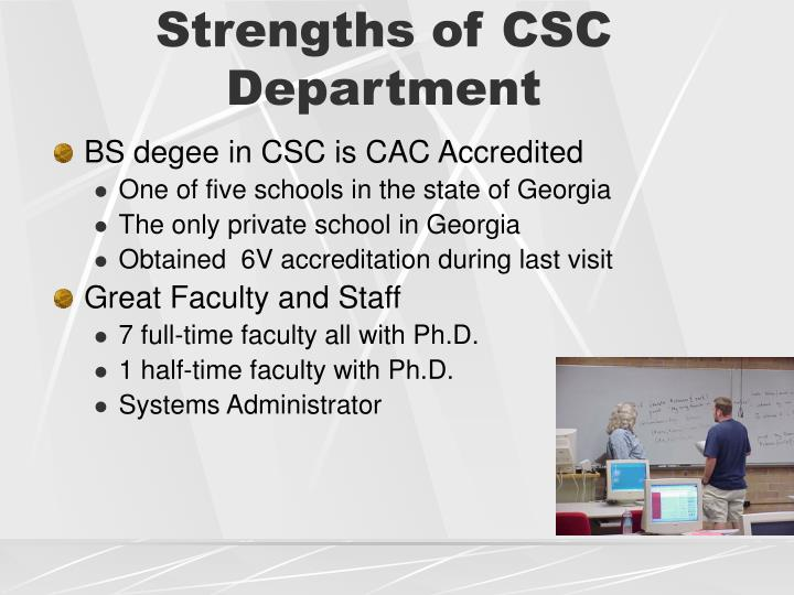 Strengths of CSC Department