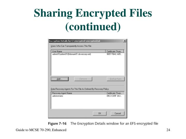 Sharing Encrypted Files (continued)