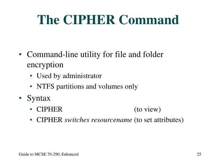 The CIPHER Command