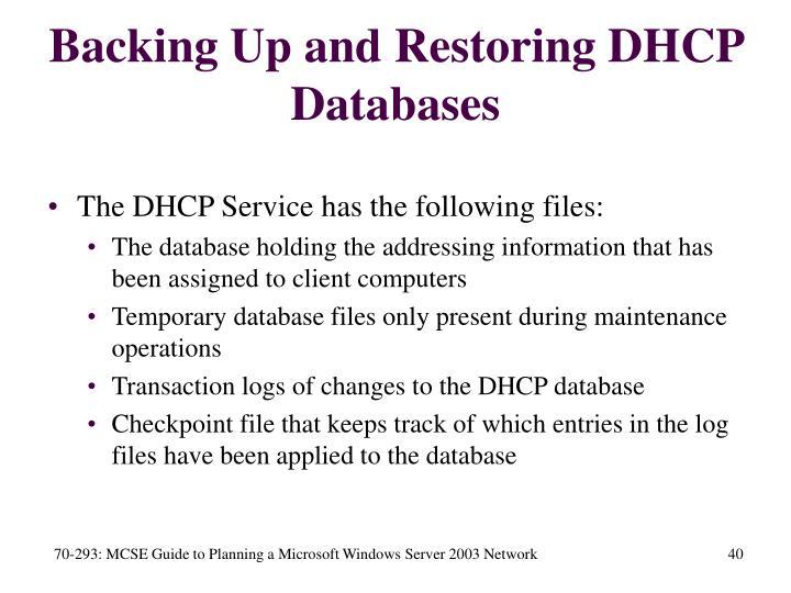 Backing Up and Restoring DHCP Databases