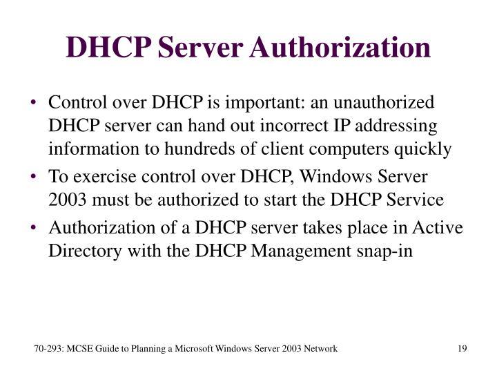DHCP Server Authorization