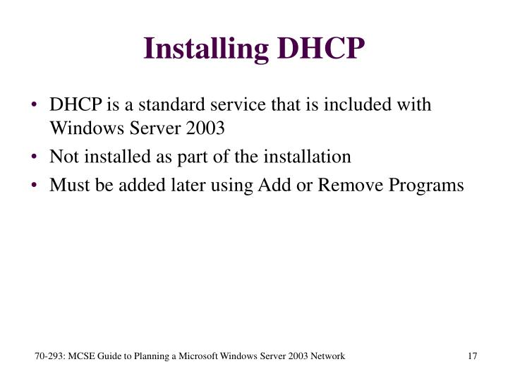 Installing DHCP
