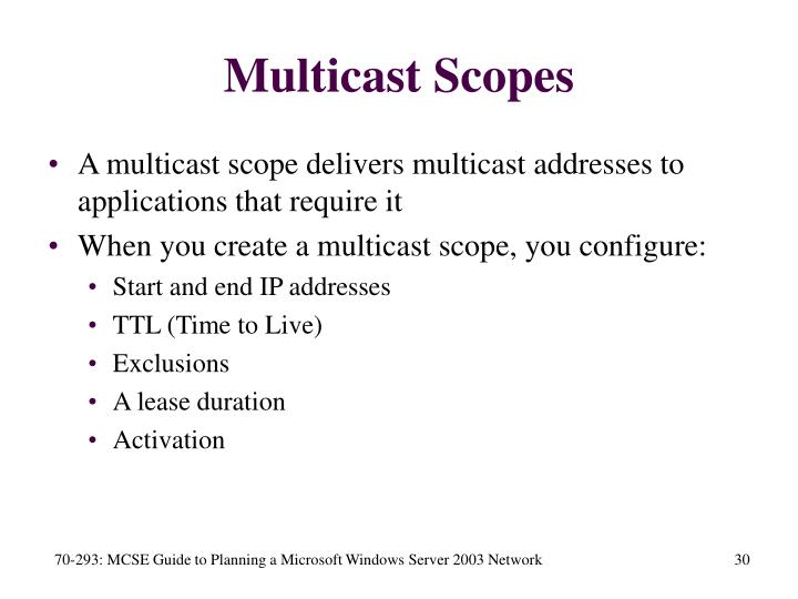 Multicast Scopes