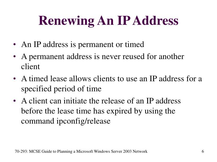Renewing An IP Address