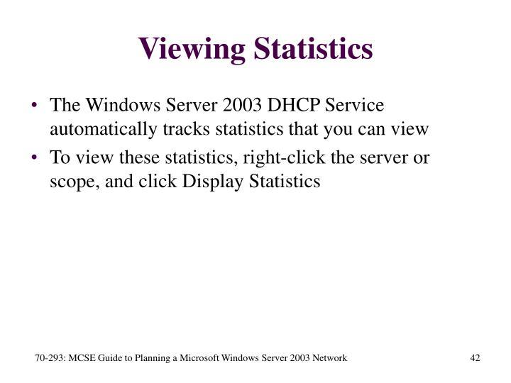 Viewing Statistics