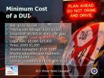 minimum cost of a dui
