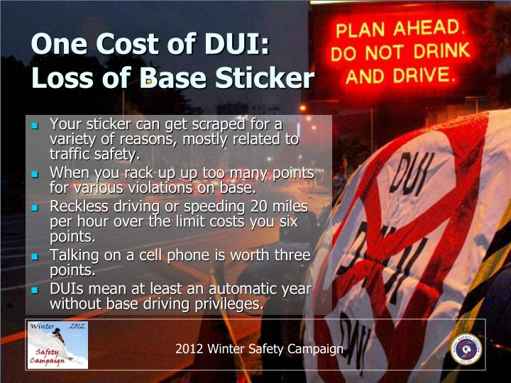 One Cost of DUI: