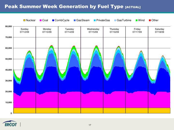 Peak Summer Week Generation by Fuel Type