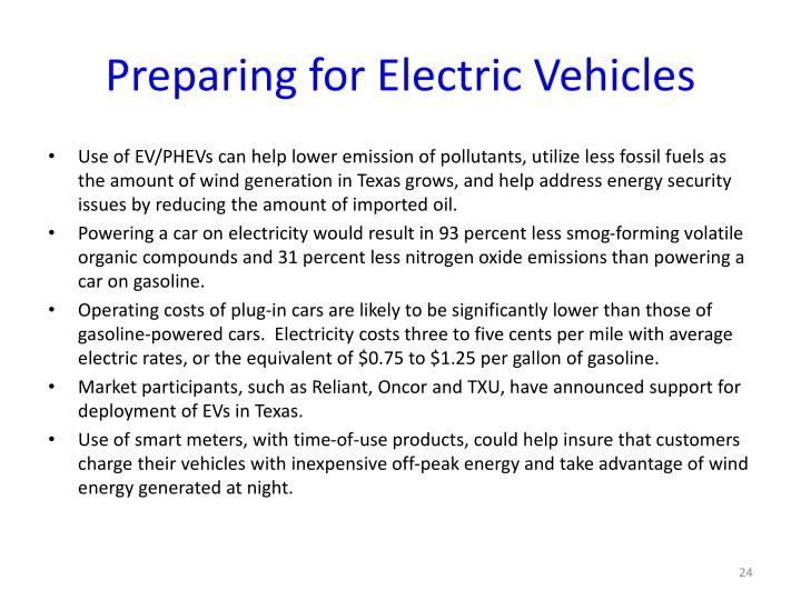 Preparing for Electric Vehicles