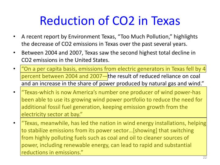 Reduction of CO2 in Texas