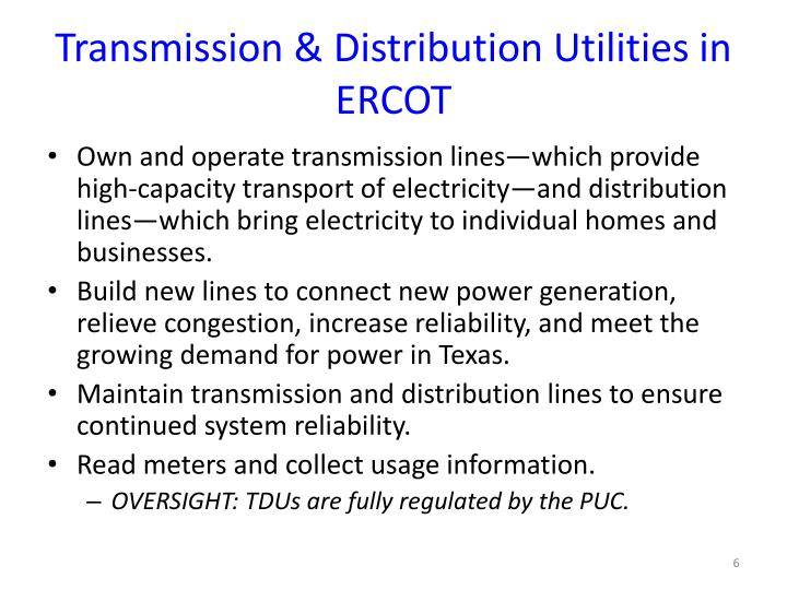 Transmission & Distribution Utilities in ERCOT