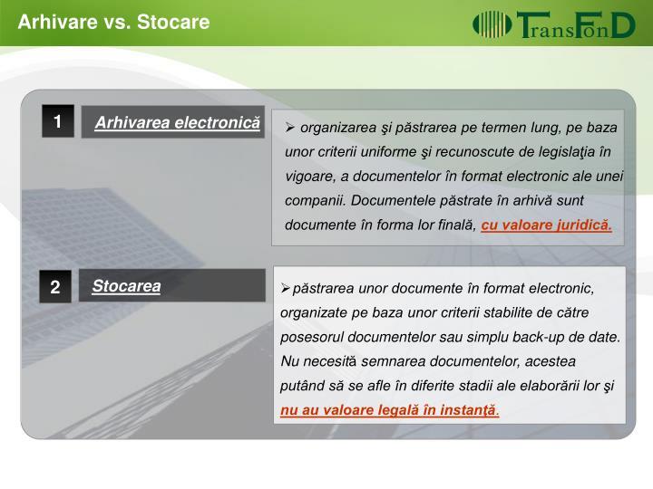 Arhivare vs. Stocare