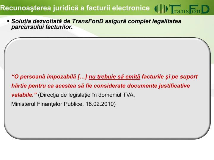 Recunoaşterea juridică a facturii electronice